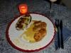 Avocado-Kartoffelpüree mit Knoblauchkaramell und Hähnchennuggets mit Honig-Senf-Sauce