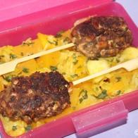 Bento #4: Tofu-Hackfleisch-Kebab und Kürbisgemüse mit Äpfeln und Honig